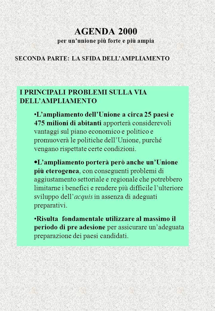 AGENDA 2000 per ununione più forte e più ampia SECONDA PARTE: LA SFIDA DELLAMPLIAMENTO I PRINCIPALI PROBLEMI SULLA VIA DELLAMPLIAMENTO Lampliamento de