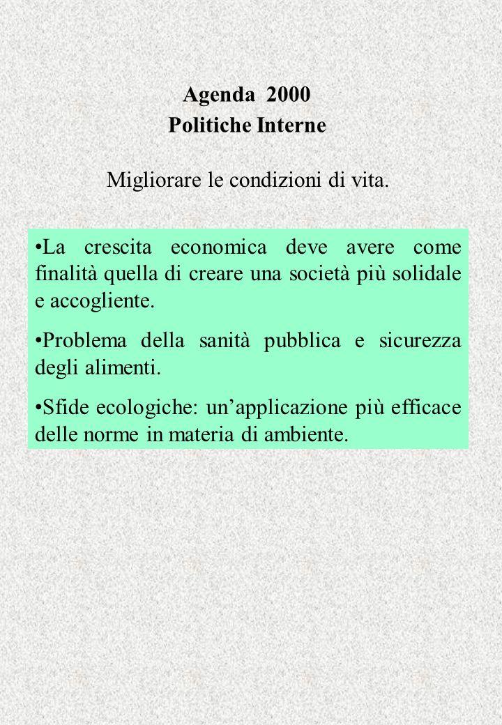 Agenda 2000 Politiche Interne Migliorare le condizioni di vita. La crescita economica deve avere come finalità quella di creare una società più solida
