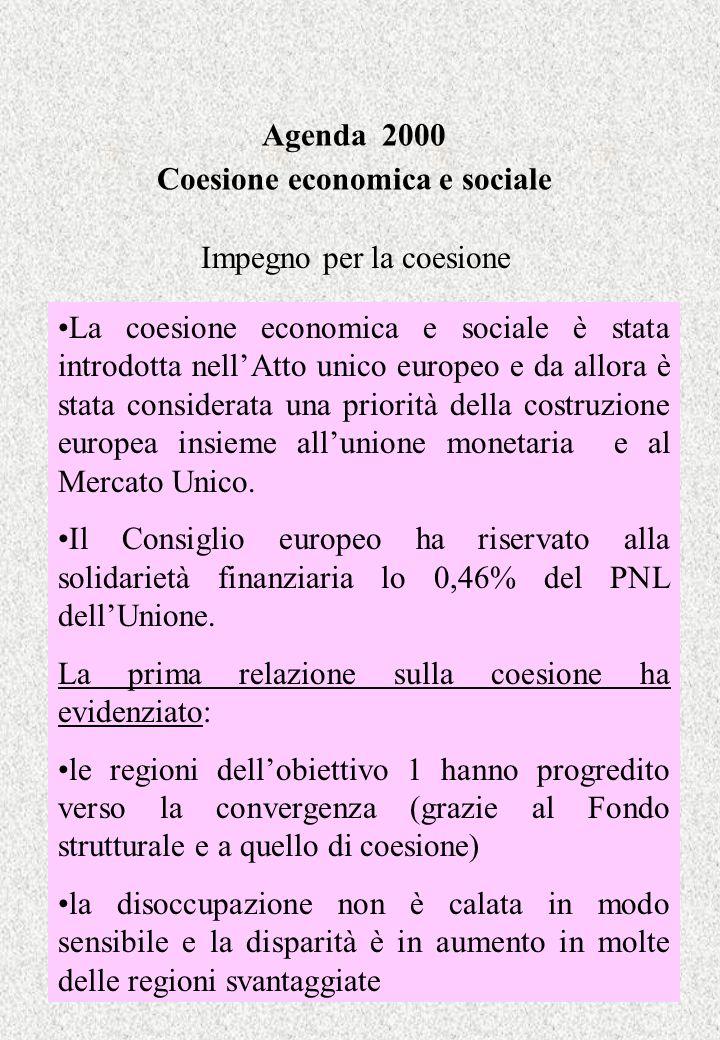 Agenda 2000 Coesione economica e sociale Aspetti finanziari Le azioni strutturali disporranno di 275 miliardi di ECU (prezzi 1997) per il periodo 2000-2006 (nel 1993-1999 erano 200 miliardi) Ai nuovi paesi aderenti verrà riservata una quota di 45 miliardi di cui 7 come preadesione.