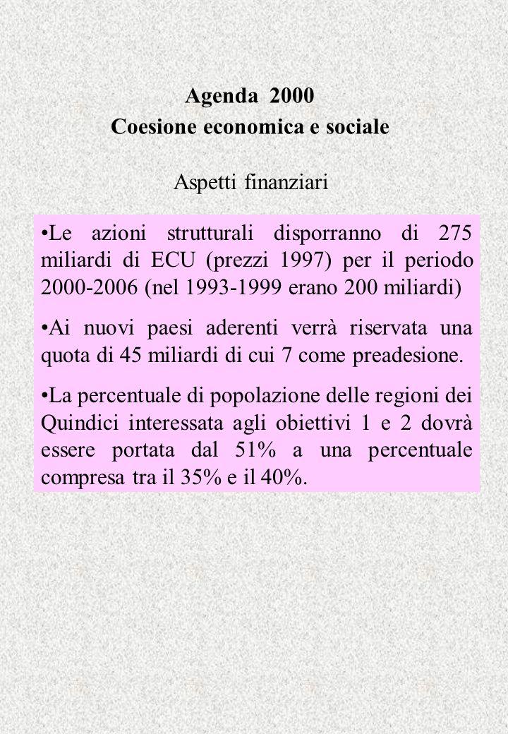 Agenda 2000 Coesione economica e sociale Aspetti finanziari Le azioni strutturali disporranno di 275 miliardi di ECU (prezzi 1997) per il periodo 2000