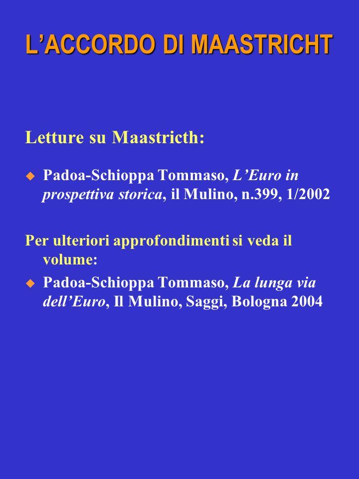 Letture su Maastricth: Padoa-Schioppa Tommaso, LEuro in prospettiva storica, il Mulino, n.399, 1/2002 Per ulteriori approfondimenti si veda il volume: