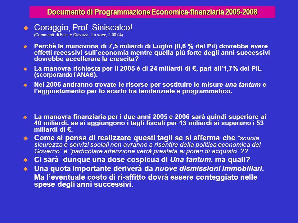 Documento di Programmazione Economica-finanziaria 2005-2008 Coraggio, Prof. Siniscalco! (Commenti di Faini e Giavazzi, La voce, 2.08.04) Perchè la man