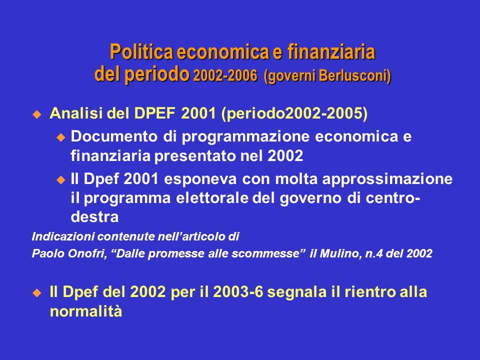 Politica economica e finanziaria del periodo 2002-2006 (governi Berlusconi) Analisi del DPEF 2001 (periodo2002-2005) u Documento di programmazione economica e finanziaria presentato nel 2002 u Il Dpef 2001 esponeva con molta approssimazione il programma elettorale del governo di centro- destra Indicazioni contenute nellarticolo di Paolo Onofri, Dalle promesse alle scommesse il Mulino, n.4 del 2002 Il Dpef del 2002 per il 2003-6 segnala il rientro alla normalità