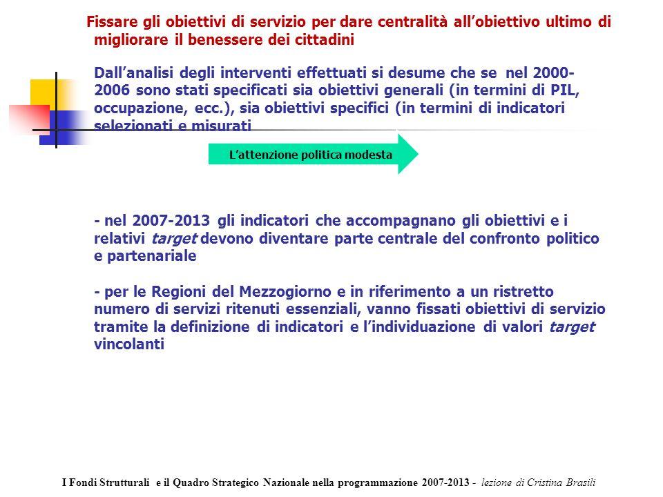 Fissare gli obiettivi di servizio per dare centralità allobiettivo ultimo di migliorare il benessere dei cittadini Dallanalisi degli interventi effettuati si desume che se nel 2000- 2006 sono stati specificati sia obiettivi generali (in termini di PIL, occupazione, ecc.), sia obiettivi specifici (in termini di indicatori selezionati e misurati - nel 2007-2013 gli indicatori che accompagnano gli obiettivi e i relativi target devono diventare parte centrale del confronto politico e partenariale - per le Regioni del Mezzogiorno e in riferimento a un ristretto numero di servizi ritenuti essenziali, vanno fissati obiettivi di servizio tramite la definizione di indicatori e lindividuazione di valori target vincolanti Lattenzione politica modesta I Fondi Strutturali e il Quadro Strategico Nazionale nella programmazione 2007-2013 - lezione di Cristina Brasili