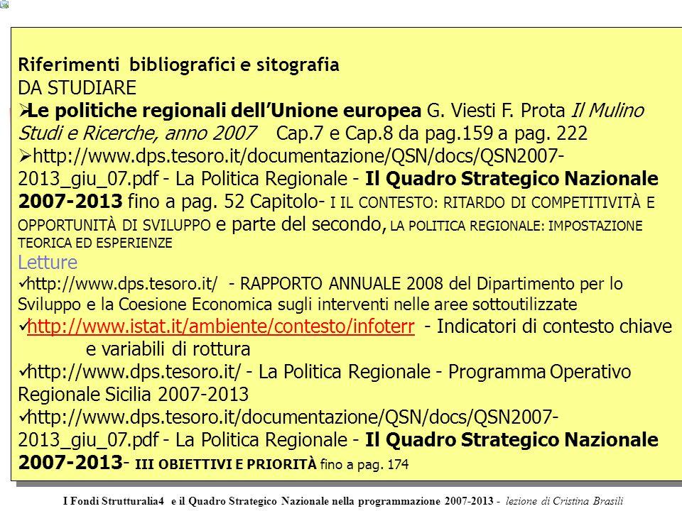 Riferimenti bibliografici e sitografia DA STUDIARE Le politiche regionali dellUnione europea G.