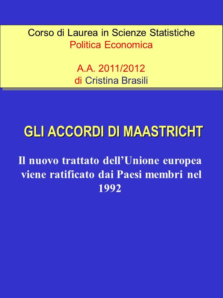 GLI ACCORDI DI MAASTRICHT Il nuovo trattato dellUnione europea viene ratificato dai Paesi membri nel 1992 Corso di Laurea in Scienze Statistiche Polit