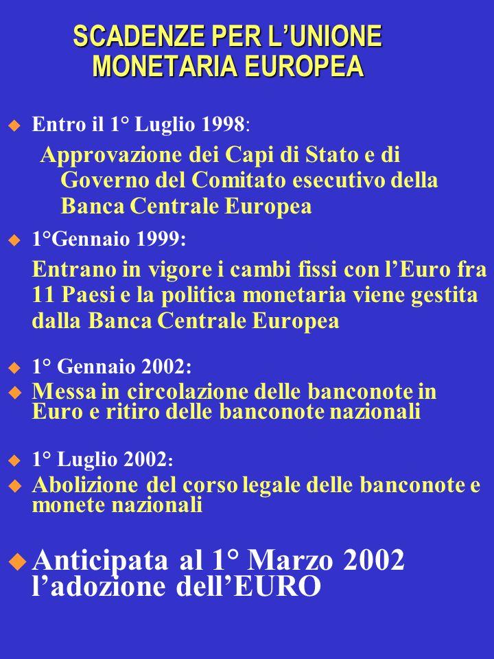 SCADENZE PER LUNIONE MONETARIA EUROPEA Entro il 1° Luglio 1998: Approvazione dei Capi di Stato e di Governo del Comitato esecutivo della Banca Central