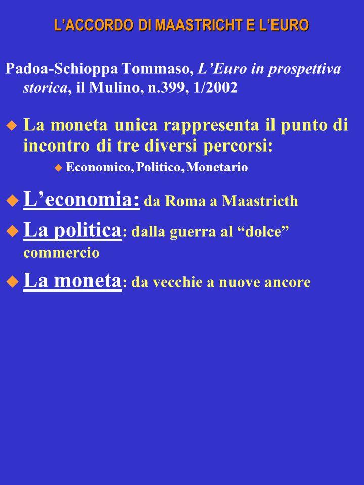 LACCORDO DI MAASTRICHT E LEURO Padoa-Schioppa Tommaso, LEuro in prospettiva storica, il Mulino, n.399, 1/2002 La moneta unica rappresenta il punto di