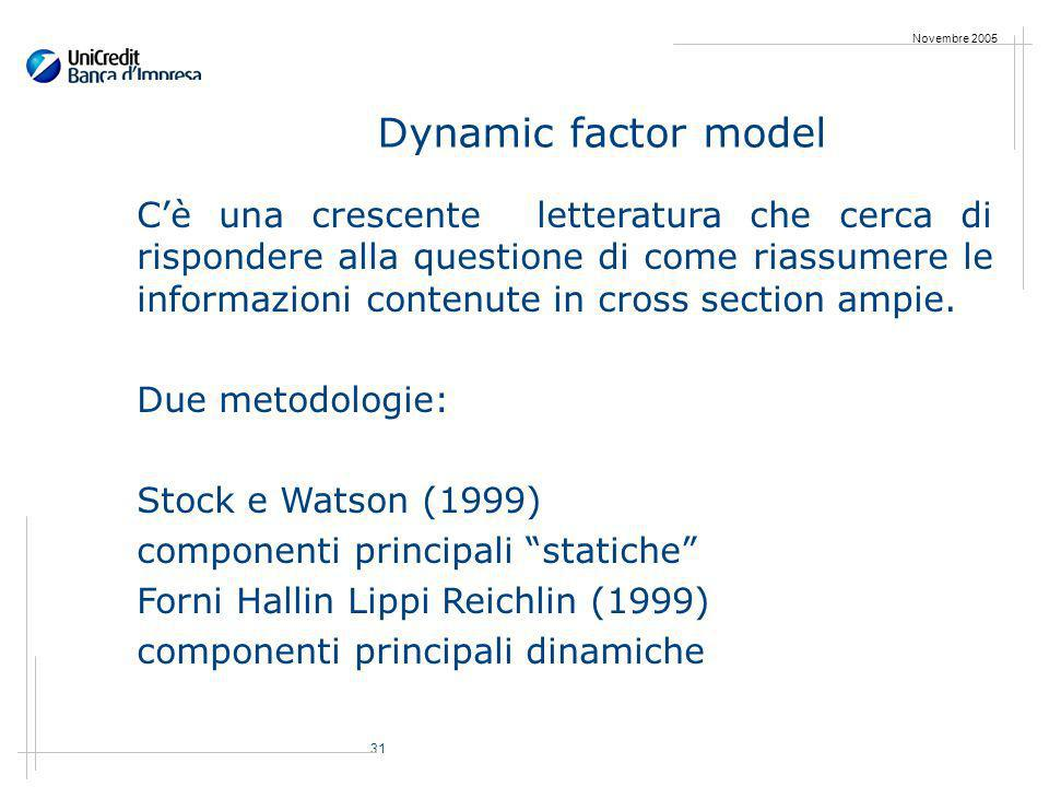 31 Novembre 2005 Dynamic factor model Cè una crescente letteratura che cerca di rispondere alla questione di come riassumere le informazioni contenute in cross section ampie.