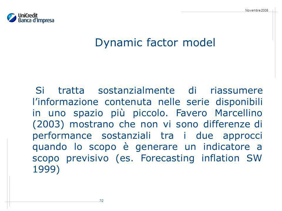 32 Novembre 2005 Dynamic factor model Si tratta sostanzialmente di riassumere linformazione contenuta nelle serie disponibili in uno spazio più piccolo.