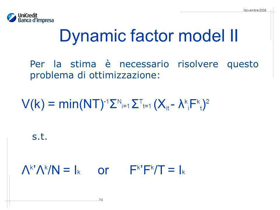 34 Novembre 2005 Dynamic factor model II Per la stima è necessario risolvere questo problema di ottimizzazione: V(k) = min(NT) -1 Σ N i=1 Σ T t=1 (X it - λ k i F k t ) 2 s.t.