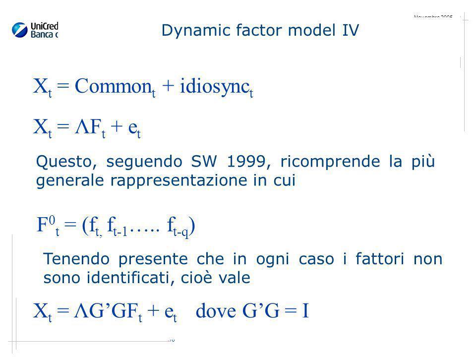 36 Novembre 2005 Dynamic factor model IV X t = Common t + idiosync t X t = ΛF t + e t Questo, seguendo SW 1999, ricomprende la più generale rappresentazione in cui F 0 t = (f t, f t-1 …..
