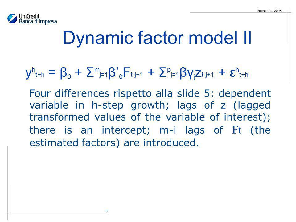 37 Novembre 2005 Dynamic factor model II y h t+h = β 0 + Σ m j=1 β 0 F t-j+1 + Σ p j=1 βγ j z t-j+1 + ε h t+h Four differences rispetto alla slide 5: dependent variable in h-step growth; lags of z (lagged transformed values of the variable of interest); there is an intercept; m-i lags of Ft (the estimated factors) are introduced.