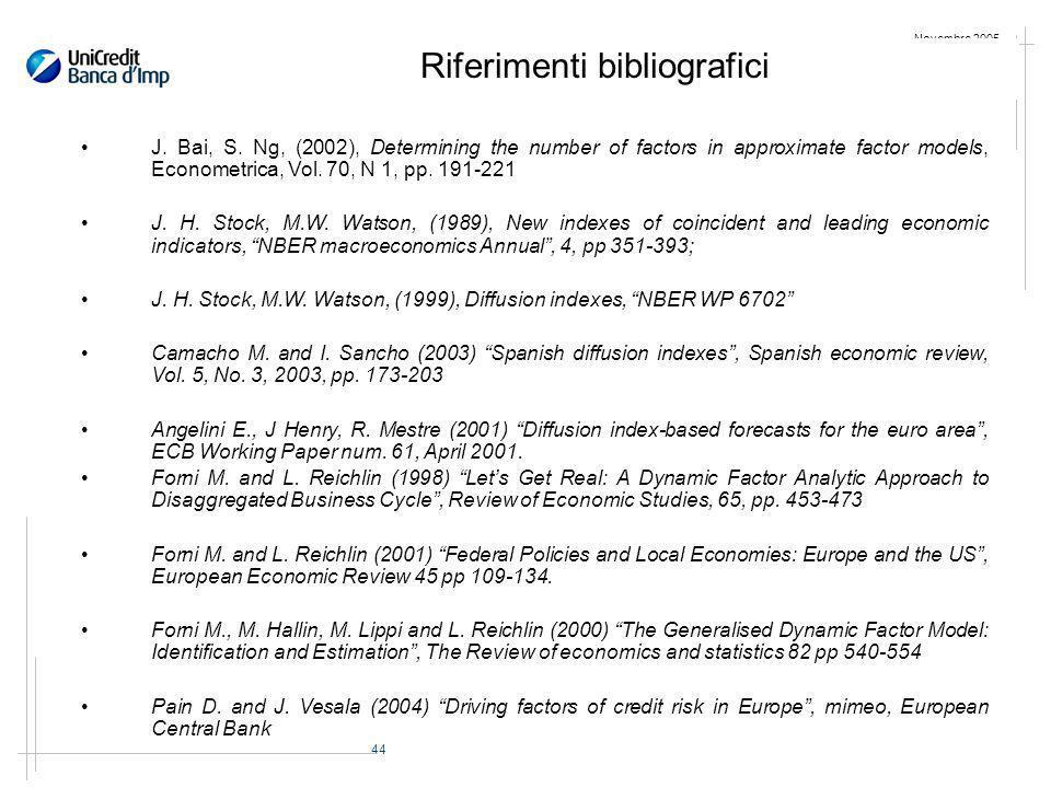 44 Novembre 2005 Riferimenti bibliografici J. Bai, S.