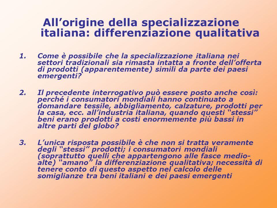 Allorigine della specializzazione italiana: differenziazione qualitativa 1.Come è possibile che la specializzazione italiana nei settori tradizionali
