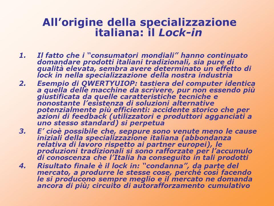 Allorigine della specializzazione italiana: il Lock-in 1.Il fatto che i consumatori mondiali hanno continuato domandare prodotti italiani tradizionali