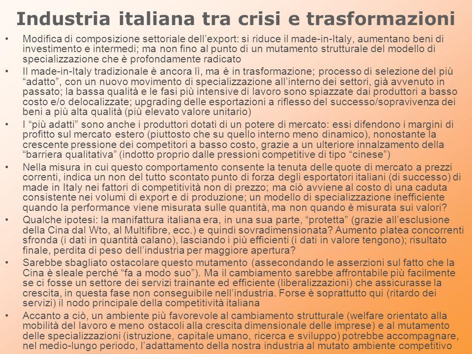 Industria italiana tra crisi e trasformazioni Modifica di composizione settoriale dellexport: si riduce il made-in-Italy, aumentano beni di investimen