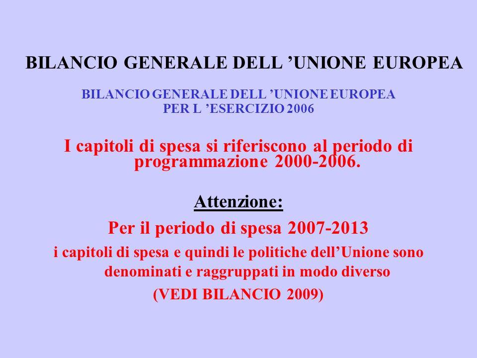 BILANCIO GENERALE DELL UNIONE EUROPEA PER L ESERCIZIO 2006 I capitoli di spesa si riferiscono al periodo di programmazione 2000-2006.