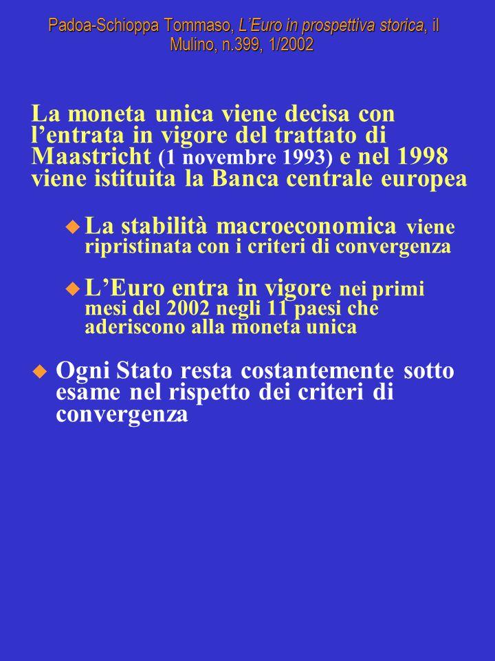 La moneta unica viene decisa con lentrata in vigore del trattato di Maastricht (1 novembre 1993) e nel 1998 viene istituita la Banca centrale europea u La stabilità macroeconomica viene ripristinata con i criteri di convergenza u LEuro entra in vigore nei primi mesi del 2002 negli 11 paesi che aderiscono alla moneta unica Ogni Stato resta costantemente sotto esame nel rispetto dei criteri di convergenza