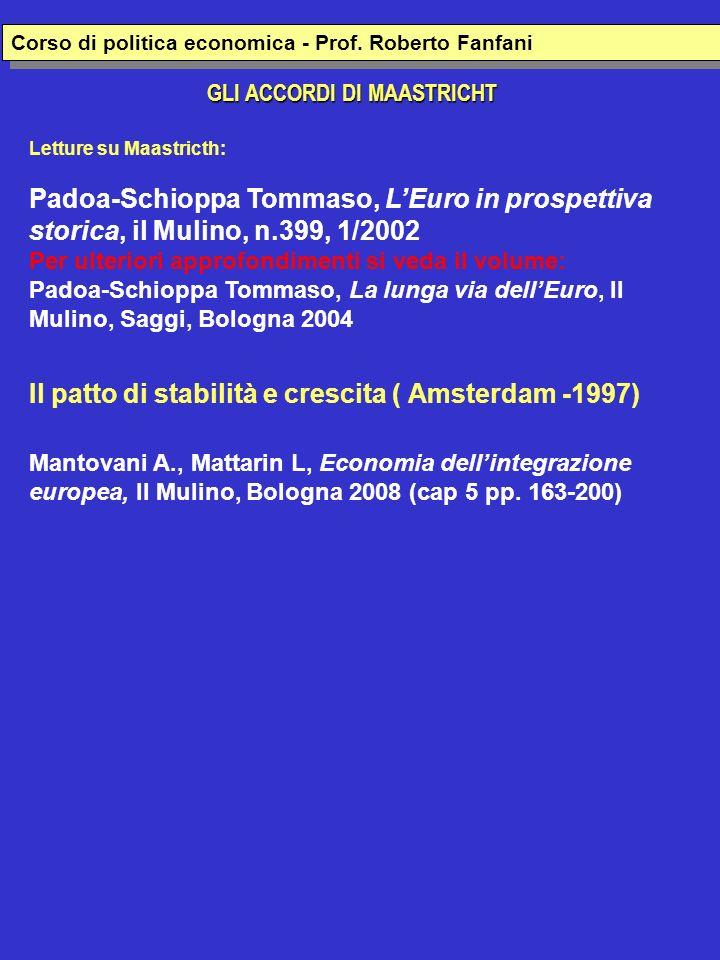 GLI ACCORDI DI MAASTRICHT Corso di politica economica europea- Prof.