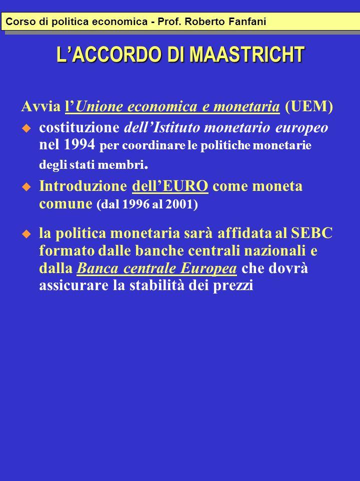 LACCORDO DI MAASTRICHT Avvia lUnione economica e monetaria (UEM) costituzione dellIstituto monetario europeo nel 1994 per coordinare le politiche monetarie degli stati membri.
