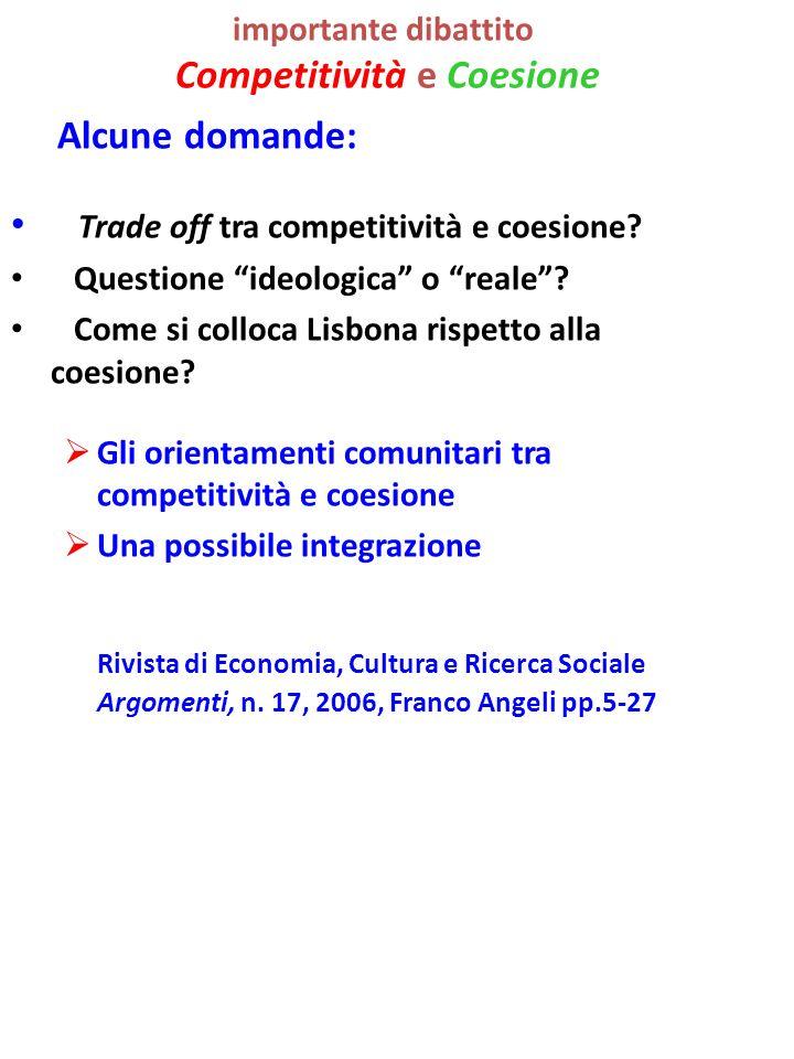 importante dibattito Competitività e Coesione Alcune domande: Trade off tra competitività e coesione.