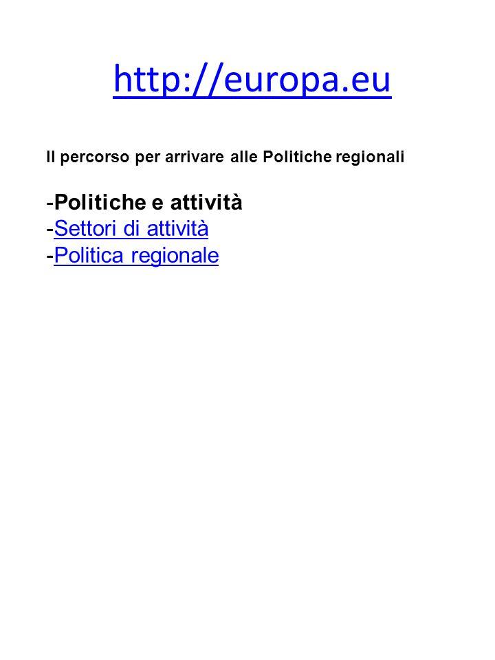 http://europa.eu Il percorso per arrivare alle Politiche regionali -Politiche e attività -Settori di attivitàSettori di attività -Politica regionalePolitica regionale