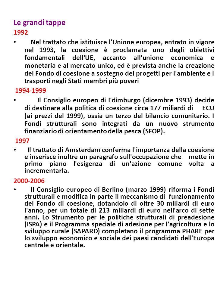 Le grandi tappe 1992 Nel trattato che istituisce l Unione europea, entrato in vigore nel 1993, la coesione è proclamata uno degli obiettivi fondamentali dell UE, accanto all unione economica e monetaria e al mercato unico, ed è prevista anche la creazione del Fondo di coesione a sostegno dei progetti per l ambiente e i trasporti negli Stati membri più poveri 1994-1999 Il Consiglio europeo di Edimburgo (dicembre 1993) decide di destinare alla politica di coesione circa 177 miliardi di ECU (ai prezzi del 1999), ossia un terzo del bilancio comunitario.