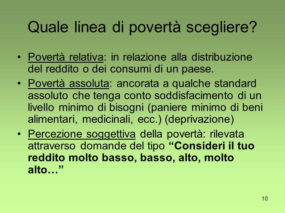 10 Quale linea di povertà scegliere.