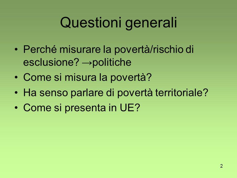 2 Questioni generali Perché misurare la povertà/rischio di esclusione.