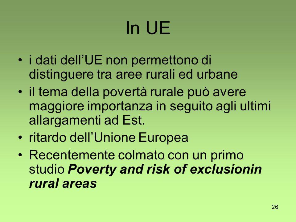 26 In UE i dati dellUE non permettono di distinguere tra aree rurali ed urbane il tema della povertà rurale può avere maggiore importanza in seguito agli ultimi allargamenti ad Est.
