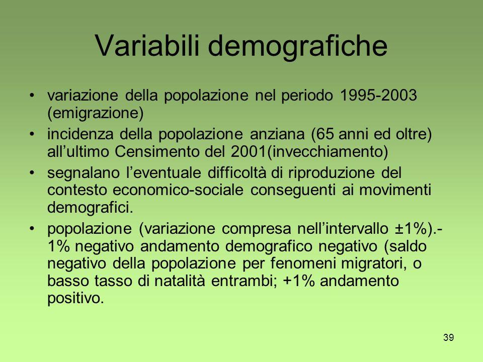 39 Variabili demografiche variazione della popolazione nel periodo 1995-2003 (emigrazione) incidenza della popolazione anziana (65 anni ed oltre) allultimo Censimento del 2001(invecchiamento) segnalano leventuale difficoltà di riproduzione del contesto economico-sociale conseguenti ai movimenti demografici.