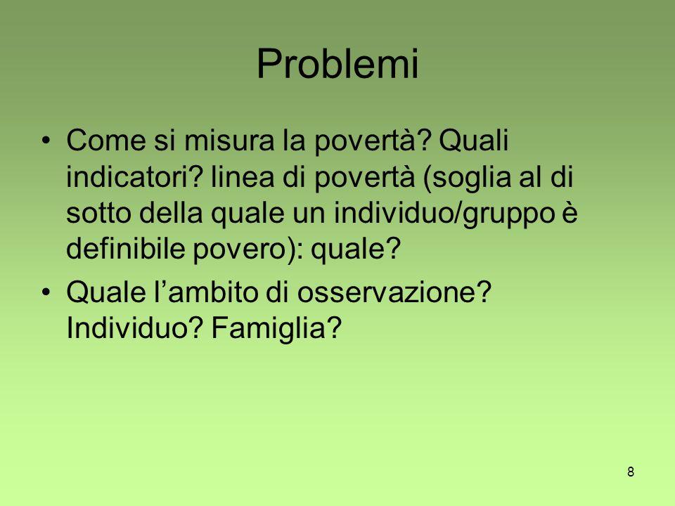 8 Problemi Come si misura la povertà. Quali indicatori.