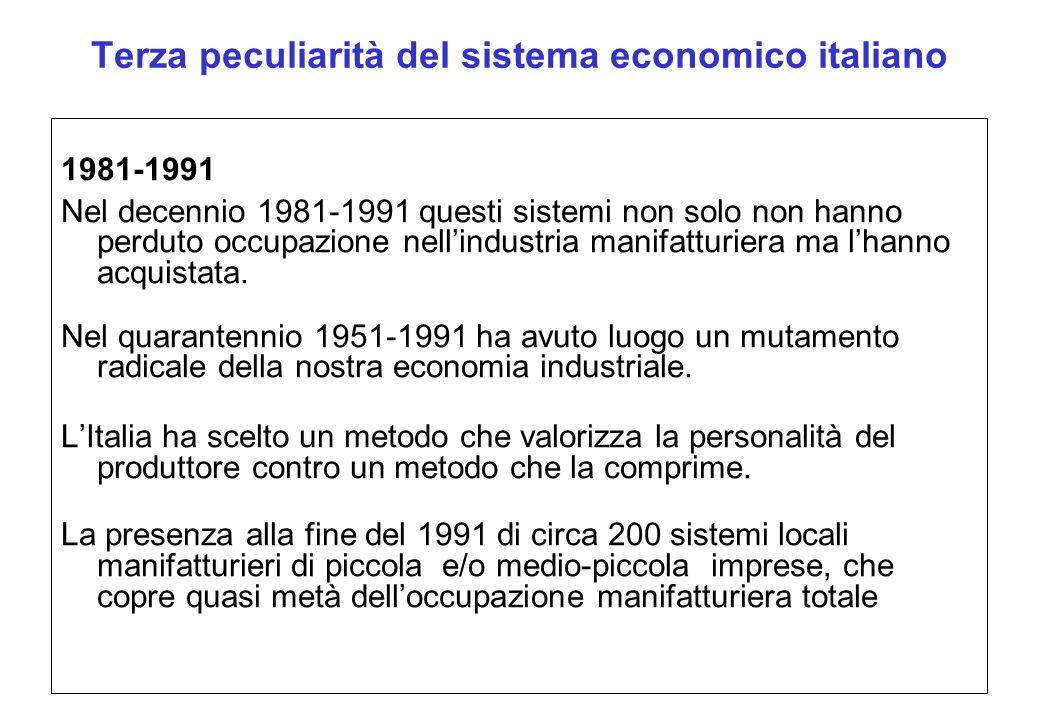 Terza peculiarità del sistema economico italiano 1981-1991 Nel decennio 1981-1991 questi sistemi non solo non hanno perduto occupazione nellindustria