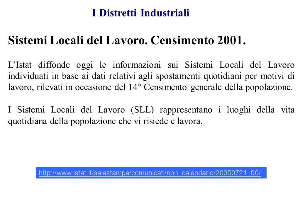 Sistemi Locali del Lavoro. Censimento 2001. LIstat diffonde oggi le informazioni sui Sistemi Locali del Lavoro individuati in base ai dati relativi ag