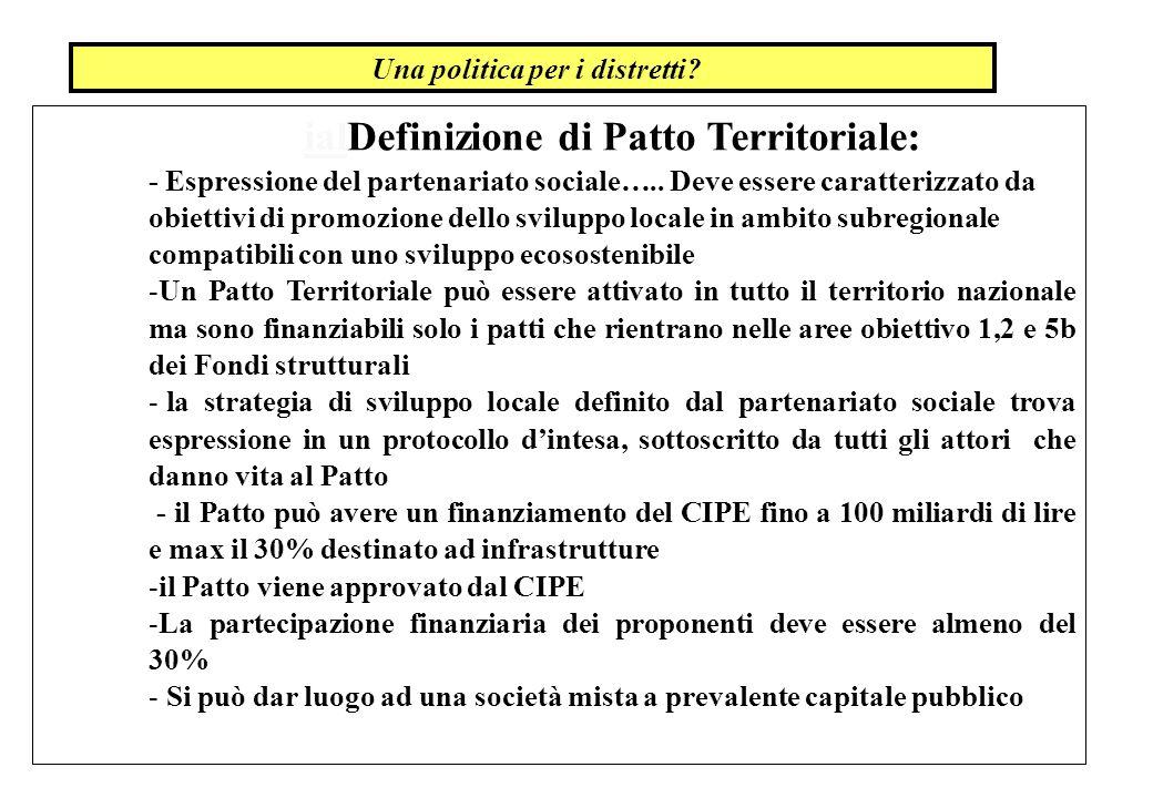 ialDefinizione di Patto Territoriale: - Espressione del partenariato sociale….. Deve essere caratterizzato da obiettivi di promozione dello sviluppo l