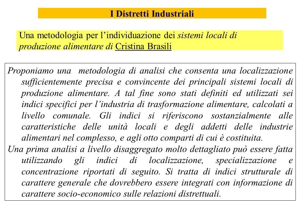 Proponiamo una metodologia di analisi che consenta una localizzazione sufficientemente precisa e convincente dei principali sistemi locali di produzio