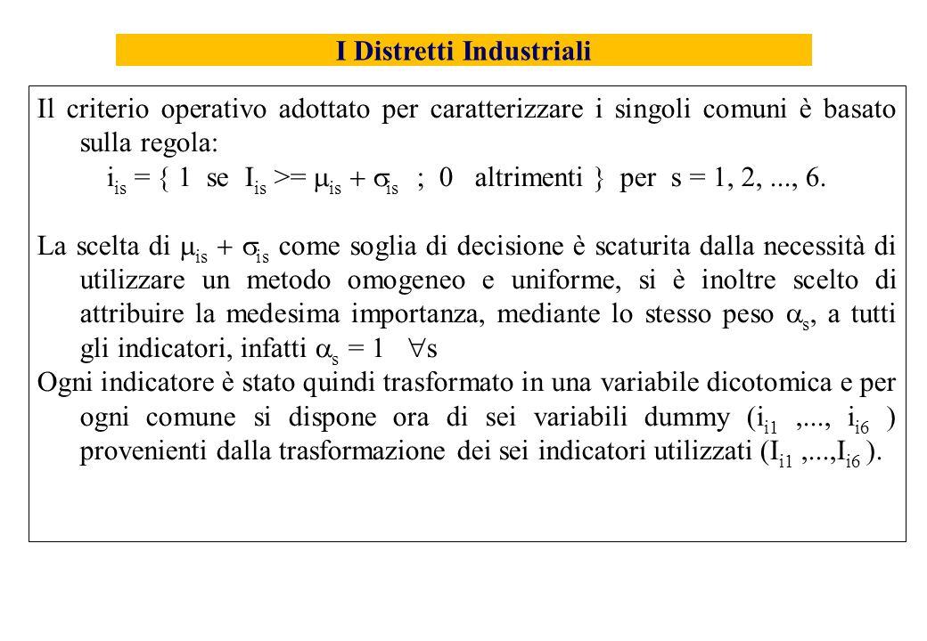 Il criterio operativo adottato per caratterizzare i singoli comuni è basato sulla regola: i is = 1 se I is >= is is ; 0 altrimenti per s = 1, 2,..., 6.