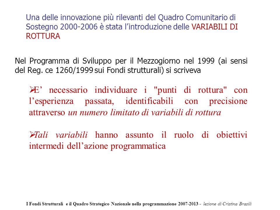 Una delle innovazione più rilevanti del Quadro Comunitario di Sostegno 2000-2006 è stata lintroduzione delle VARIABILI DI ROTTURA Nel Programma di Sviluppo per il Mezzogiorno nel 1999 (ai sensi del Reg.