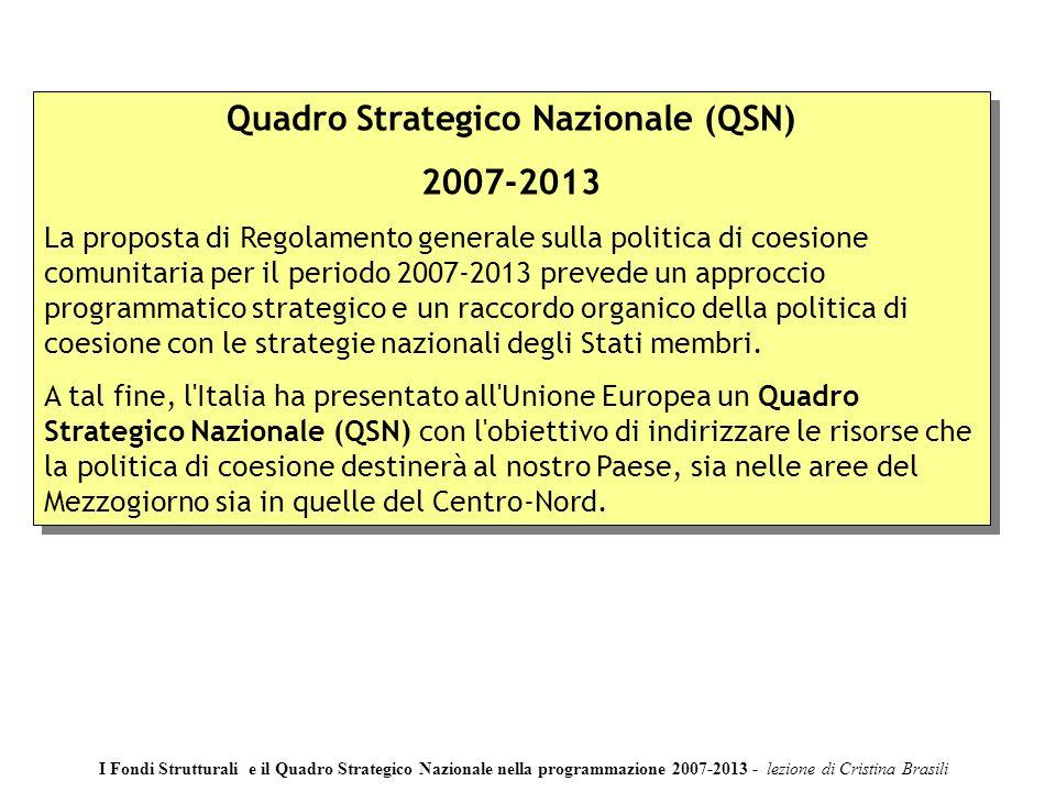 Quadro Strategico Nazionale (QSN) 2007-2013 La proposta di Regolamento generale sulla politica di coesione comunitaria per il periodo 2007-2013 prevede un approccio programmatico strategico e un raccordo organico della politica di coesione con le strategie nazionali degli Stati membri.
