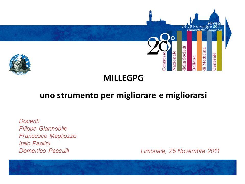 MILLEGPG uno strumento per migliorare e migliorarsi Limonaia, 25 Novembre 2011 Docenti Filippo Giannobile Francesco Magliozzo Italo Paolini Domenico P