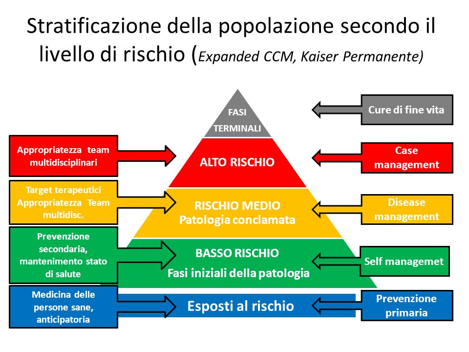 Stratificazione della popolazione secondo il livello di rischio ( Expanded CCM, Kaiser Permanente) FASI TERMINALI ALTO RISCHIO RISCHIO MEDIO Patologia