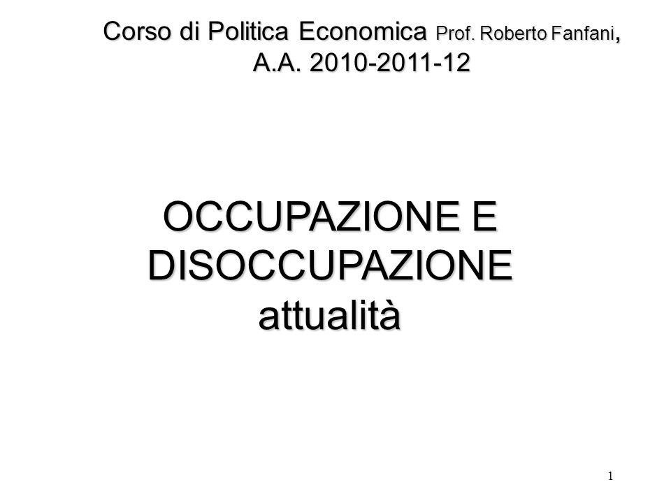 1 OCCUPAZIONE E DISOCCUPAZIONE attualità Corso di Politica Economica Prof. Roberto Fanfani, A.A. 2010-2011-12