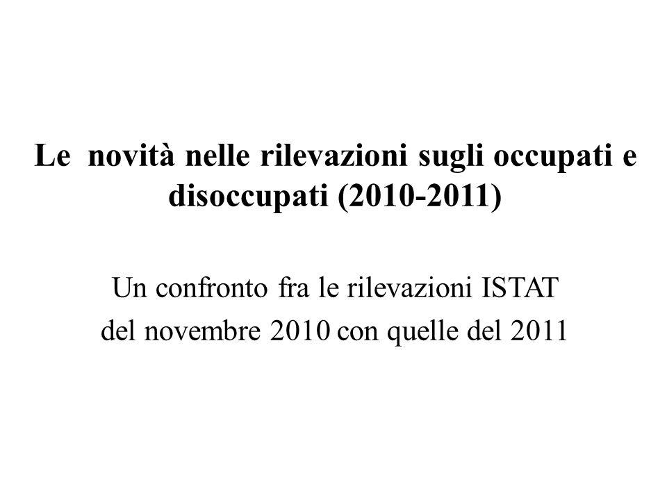 Le novità nelle rilevazioni sugli occupati e disoccupati (2010-2011) Un confronto fra le rilevazioni ISTAT del novembre 2010 con quelle del 2011