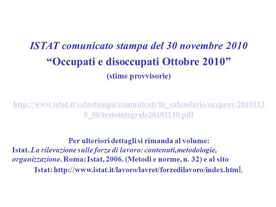 ISTAT comunicato stampa del 30 novembre 2010 Occupati e disoccupati Ottobre 2010 (stime provvisorie) http://www.istat.it/salastampa/comunicati/in_calendario/occprov/2010113 0_00/testointegrale20101130.pdf Per ulteriori dettagli si rimanda al volume: Istat.