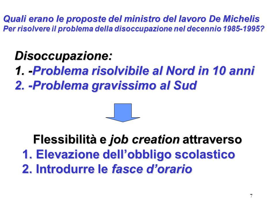 7 Quali erano le proposte del ministro del lavoro De Michelis Per risolvere il problema della disoccupazione nel decennio 1985-1995? Disoccupazione: 1