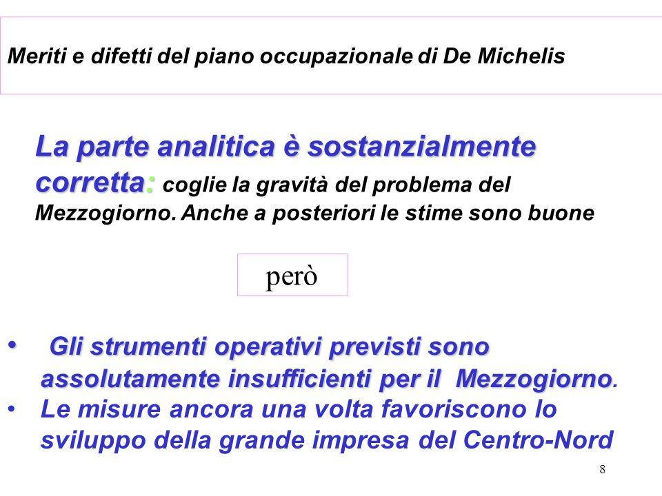 8 Meriti e difetti del piano occupazionale di De Michelis La parte analitica è sostanzialmente corretta: La parte analitica è sostanzialmente corretta: coglie la gravità del problema del Mezzogiorno.