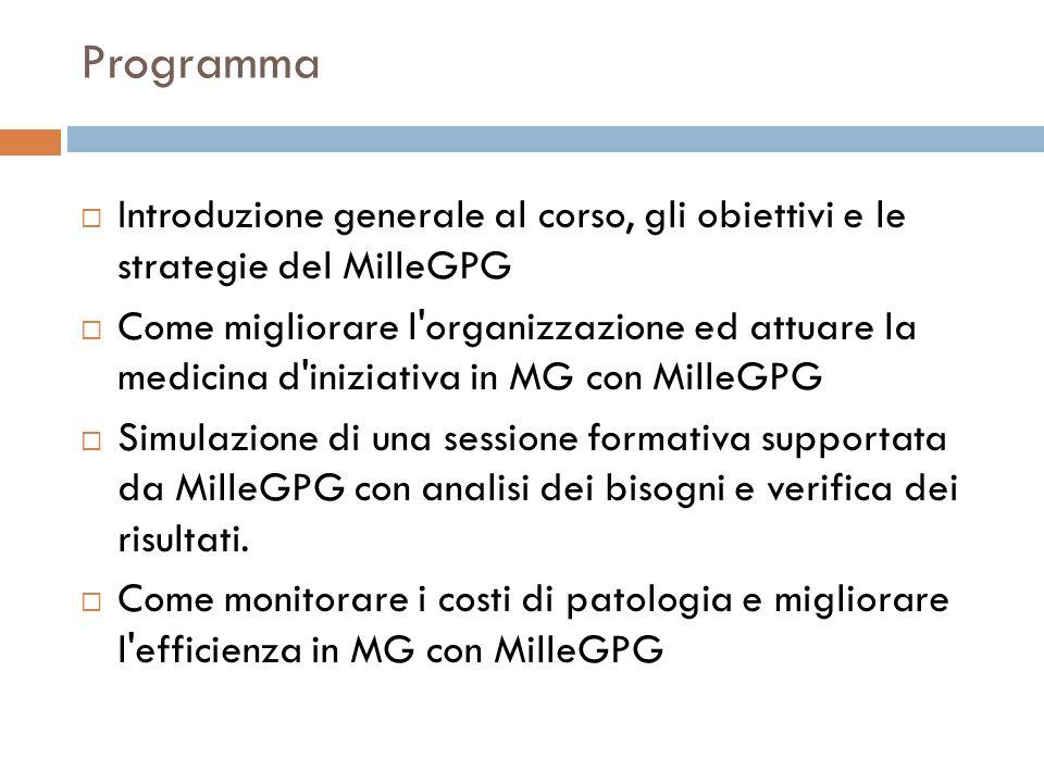 Programma Introduzione generale al corso, gli obiettivi e le strategie del MilleGPG Come migliorare l'organizzazione ed attuare la medicina d'iniziati