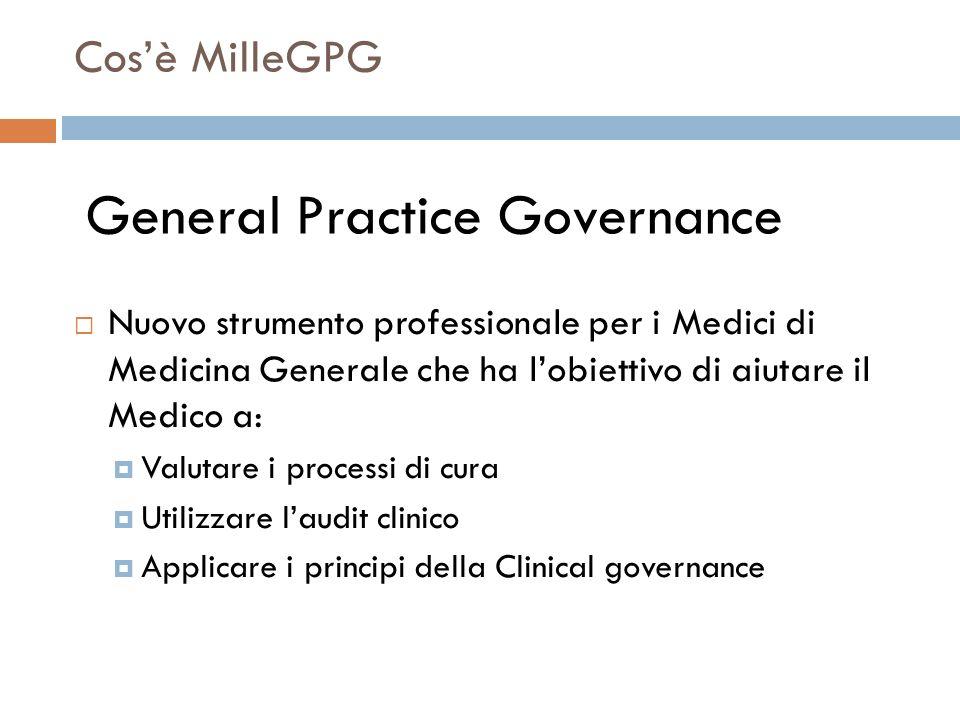 Cosè MilleGPG Nuovo strumento professionale per i Medici di Medicina Generale che ha lobiettivo di aiutare il Medico a: Valutare i processi di cura Ut