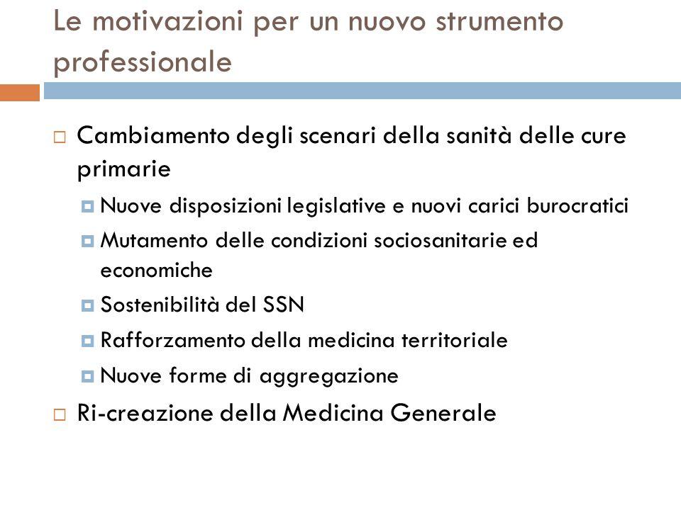 Le motivazioni per un nuovo strumento professionale Cambiamento degli scenari della sanità delle cure primarie Nuove disposizioni legislative e nuovi